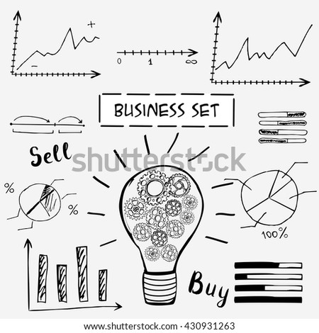 Doodle business graphs and charts. The idea of the concept of buying and selling. Illustration - stock photo