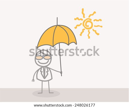 Doodle : Businessman with Umbrella in summer - stock photo