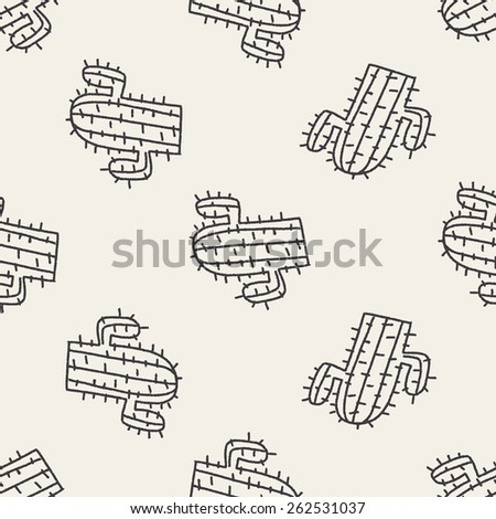 doodle cactus seamless pattern background - stock photo