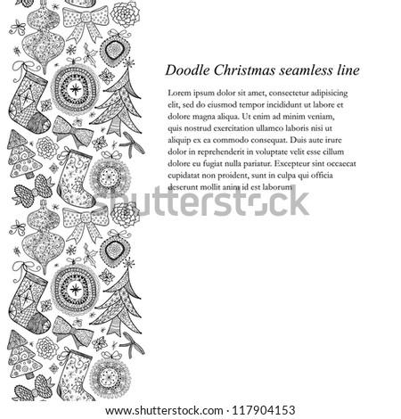 Doodle Christmas seamless line-pattern. Raster. - stock photo
