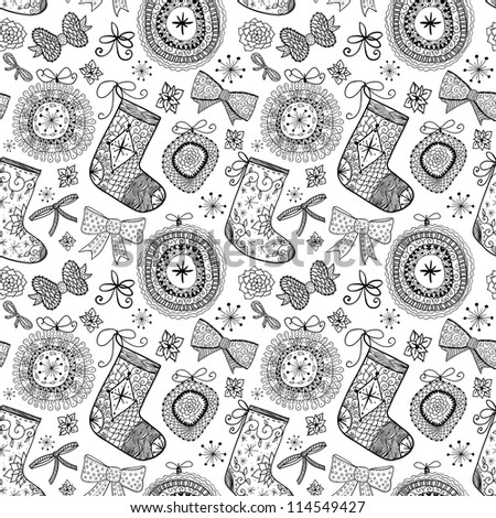 Doodle Christmas seamless pattern. Raster. - stock photo