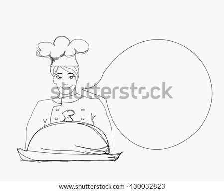 doodle Cook on a white background - stock photo