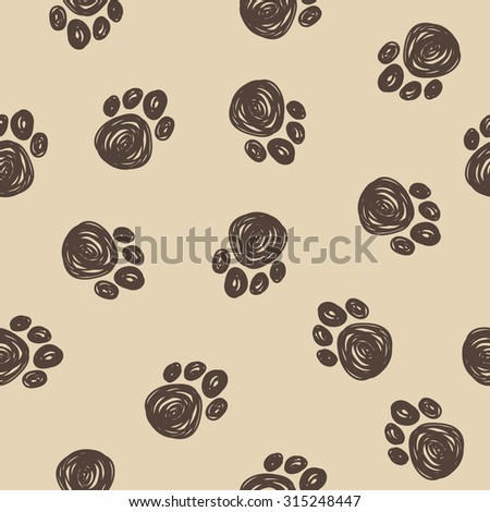 Doodle dog tracks seamless pattern background. Hand drawn elements isolated on beige background for use in design. Raster copy - stock photo