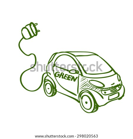 Doodle drawing of eco green friendly electric car on white background - stock photo