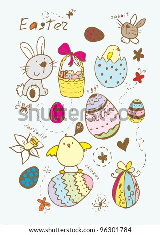Doodle Easter colorful elements. Raster. - stock photo