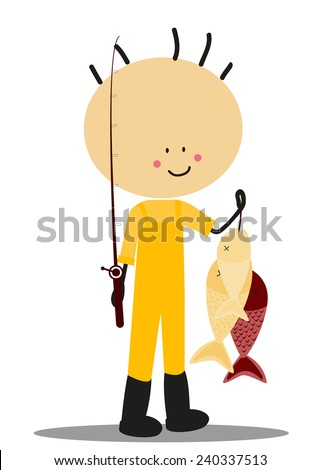 Doodle fisherman - Full Color - stock photo