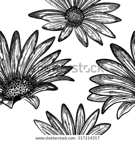 Doodle floral seamless pattern. Raster illustration. - stock photo