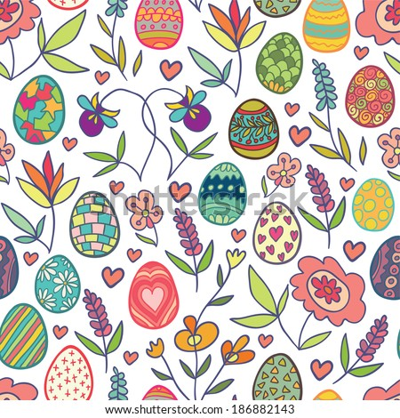 Doodle flowers and eggs seamless pattern. Raster version. - stock photo