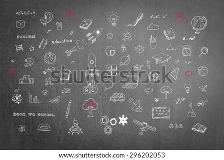 Doodle freehand chalk drawing on blackboard of daydreaming mind map: Educational, childhood concept: Children/ students' thought of creative thinking idea about career and education success    - stock photo