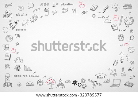 Doodle freehand drawing on white watercolor paper background with oval blank copy space for adding texts: Childhood concept: Children/ students' thought of creative thinking idea on education success  - stock photo