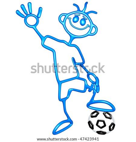 Doodle GuyZ Soccer Football - stock photo