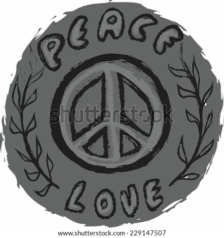 doodle icon grunge Peace and Love  - stock photo