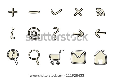 Doodle icons - arrow, home, rss, search, mail, ask, plus, minus, back, forward. Web tools symbols or sign set isolated on white background - stock photo