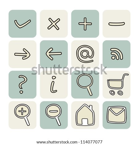 Doodle icons - arrow, home, rss, search, mail, ask, plus, minus, shop, back, forward. Web tools symbols button set. - stock photo