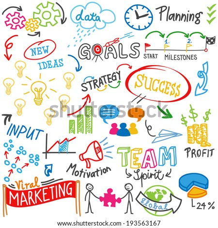 Doodle illustration: Colorful business related words and scribbles. - stock photo