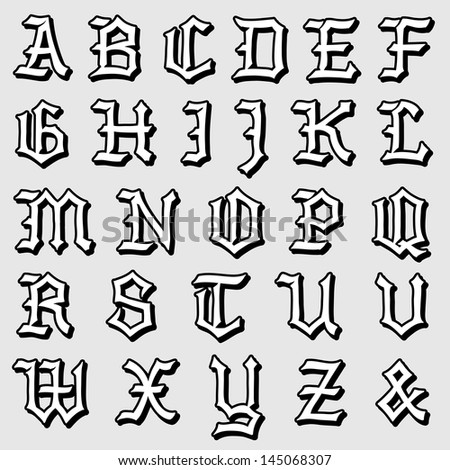 Doodle illustration of a complete Gothic alphabet in caps, written in black - stock photo