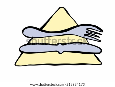 doodle knife and fork - stock photo