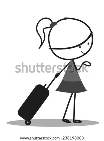 Doodle little girl carrying a bag for Traveling - stock photo
