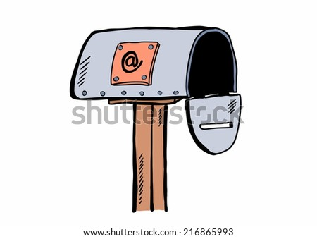 doodle mailbox with e-mail - stock photo