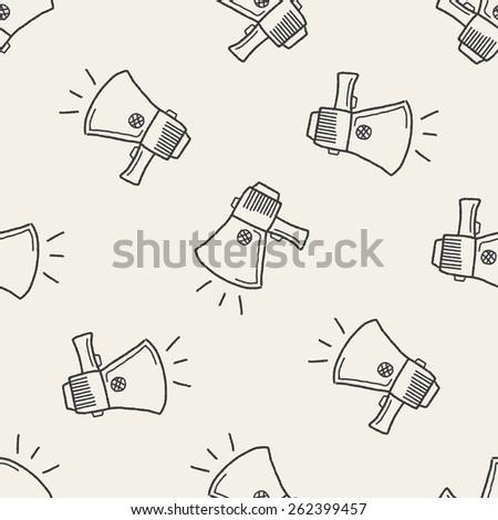 Doodle Megaphone seamless pattern background - stock photo