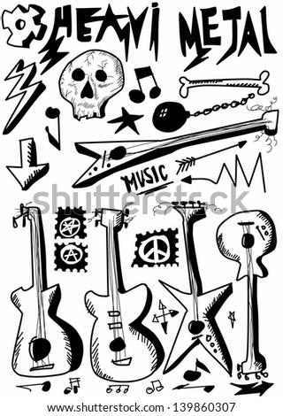 Doodle music, heavy metal, hand drawn guitars - stock photo
