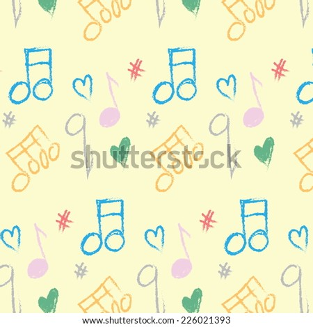 doodle pattern musical notes seamless texture - stock photo