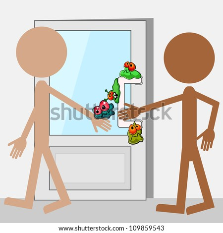Doodle people and door with cartoon germs stock photo