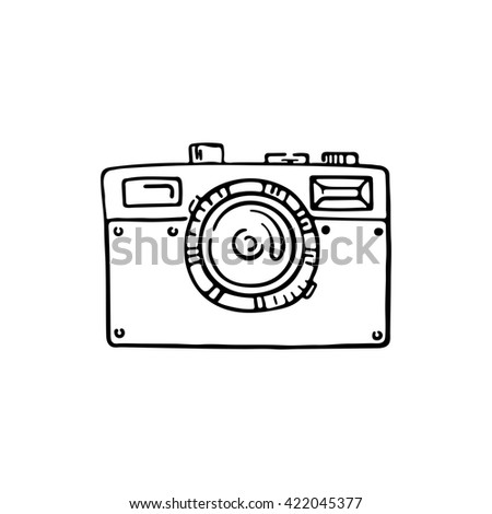 Doodle photo camera. Hand draw illustration. Sketch lines. - stock photo