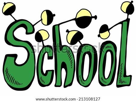 doodle school - stock photo