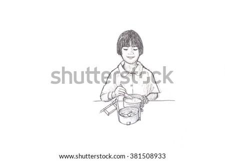 doodle schoolgirl with luncheon - stock photo