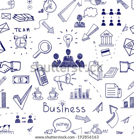 Doodle sketch business icon seamless pattern with financial  teamwork  management  graphs and charts  handshake  brainstorming  documents and mail icons scattered randomly on white - stock photo