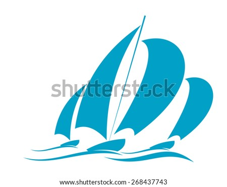 Doodle sketch of ocean yachting in a yacht with several sails racing over the surface of the water in blue on white - stock photo