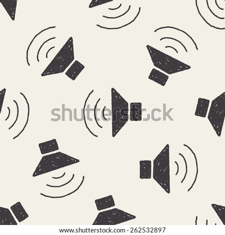 Doodle Speaker seamless pattern background - stock photo