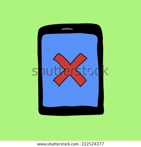 Doodle style pad with red cross as error sign - stock photo