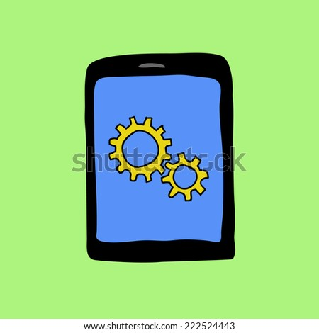Doodle style pad with two gear wheels. Settings sign - stock photo
