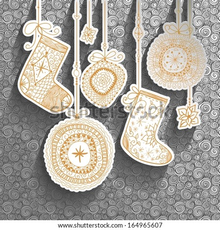 Doodle textured Christmas baubles and socks background. Raster. - stock photo