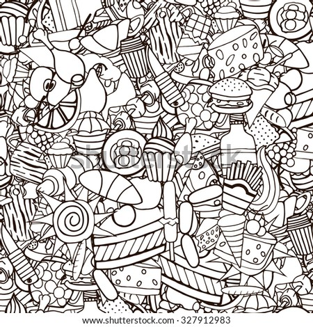 Doodles on the subject of fast food and sweets seamless pattern. Cartoon hand-drawn  - stock photo