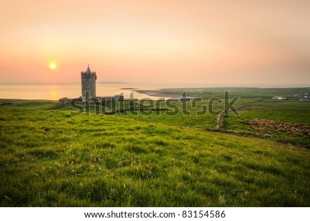 Doonagore castle at sunset - Ireland - stock photo