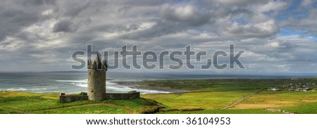 Doonagore castle panoramic in Ireland - stock photo