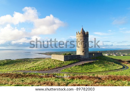 Doonegore castle in Doolin, Ireland - stock photo
