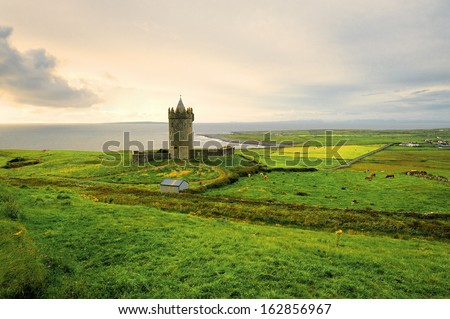 Doonegore castle in Doolin, Ireland, Europe - stock photo