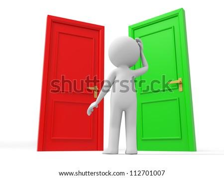 Door/Choose/ A Human stands between two doors - stock photo