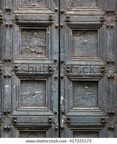 Door detail in Italy - stock photo