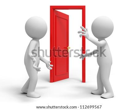 Door/ discuss/ two people discuss in front of a opened door - stock photo