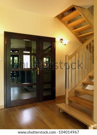 Door: entrance to the luxury house - stock photo