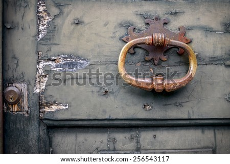 Door Handle at Lucca. Tuscany. italy - stock photo