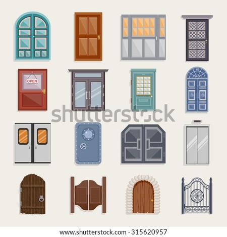 Door house entrance architecture elements flat icon set isolated  illustration - stock photo