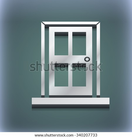 Door icon symbol. 3D style. Trendy, modern design with space for your text illustration. Raster version - stock photo