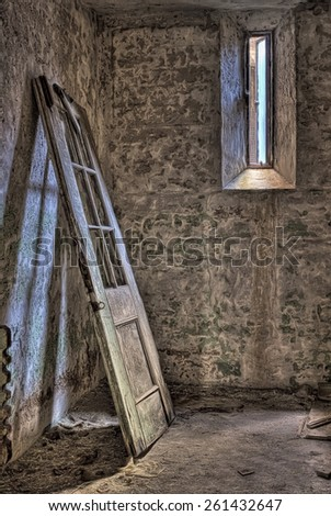 Door in a Cell at Eastern State Penitentiary in Philadelphia Pennsylvania - stock photo