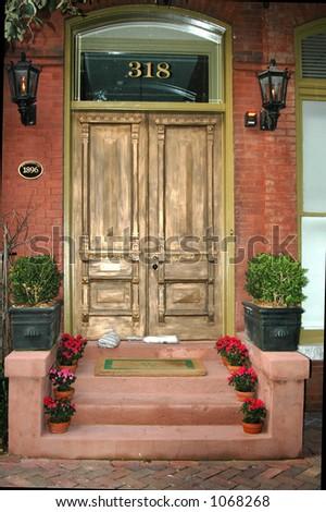 Door in Savannah historic district - stock photo